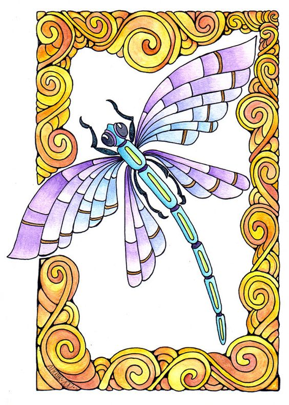 Purple-and-blue dragonfly flying in curled yellow frame tattoo design