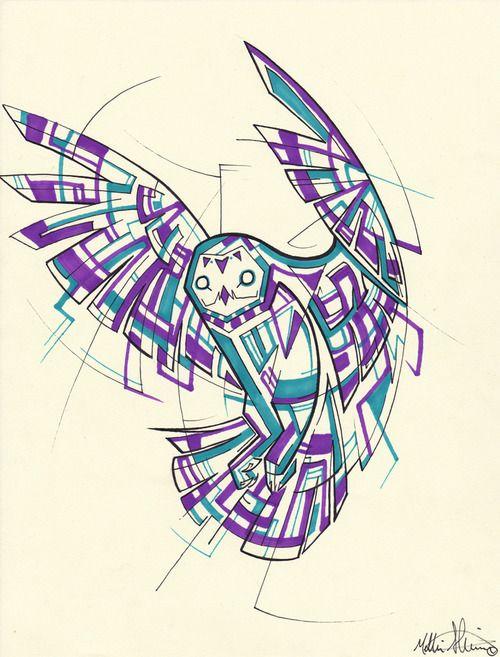 Purple-and-blue geometric flying owl tattoo design