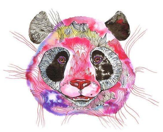 Purple-and-pink ornate panda muzzle tattoo design