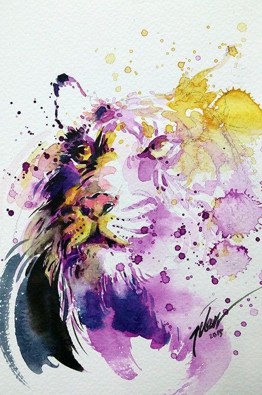 Purple-and-yellow watercolor animal portrait tattoo design
