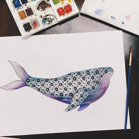 Purple-belly whale with beautiful geometric ornament tattoo design