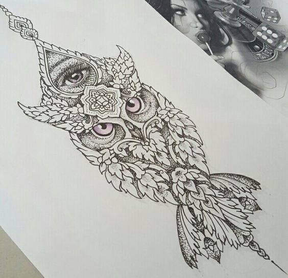 Purple-eyed ornamented owl and girly-eye sign tattoo design
