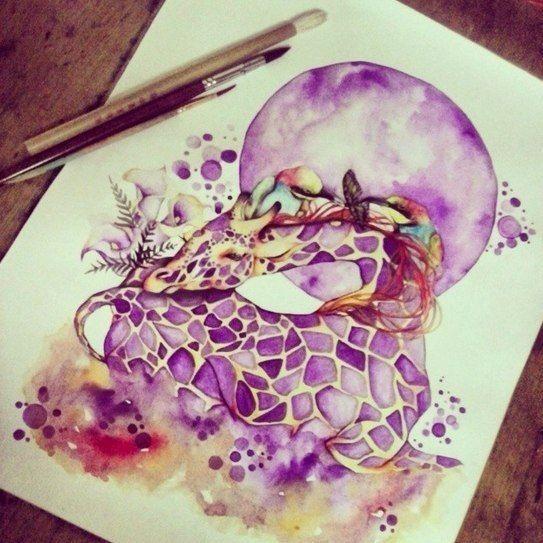 Purple-spotted sleeping giraffe and full purple moon tattoo design