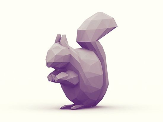 Purple 3D geometric squirrel tattoo design