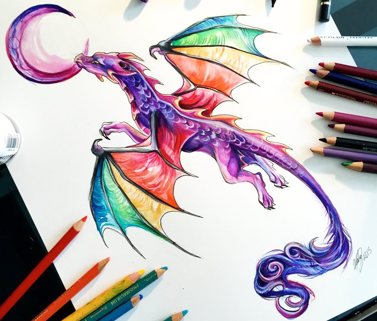 Purple dragon with rainbow wings reaching a moon tattoo design