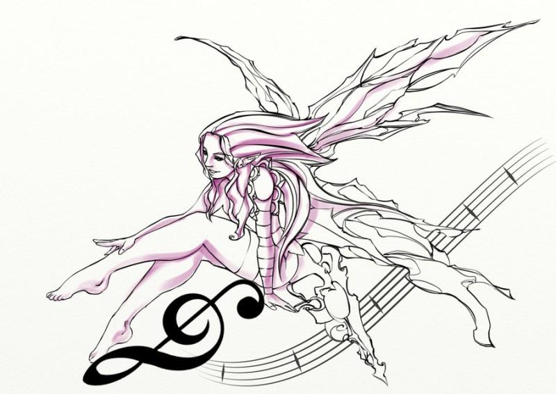 Purple fairy and note line tattoo design by Hagencalacin