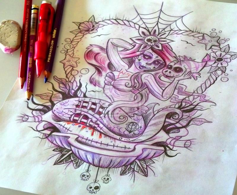 Purple muerte zombie mermaid sitting in her shell tattoo design by Pretty Gore