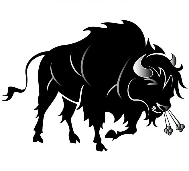 Rageful black fluffy bull with hot smoke from nostrils tattoo design