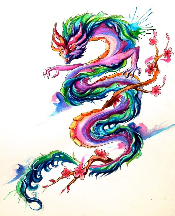 Rainbow-coloured asian dragon and cherry blossom branches tattoo design