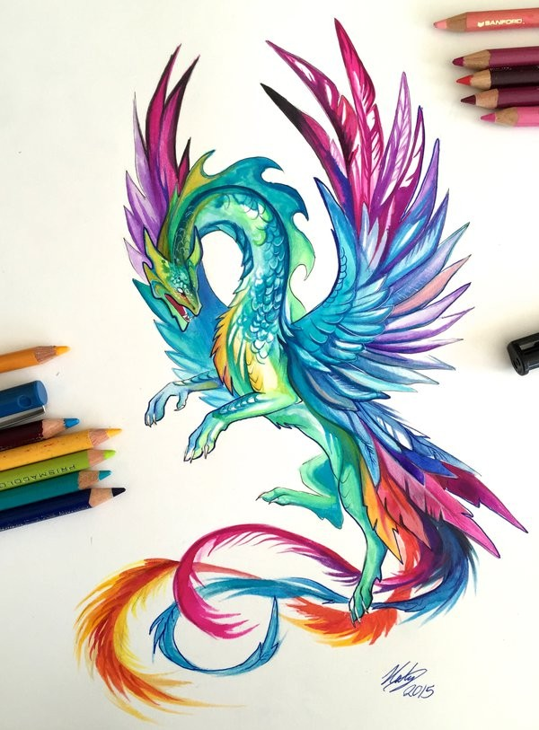 Rainbow-coloured dragon with feather wings tattoo design