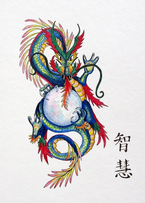 Rainbow-coloured oriental dragon keeping a giant white ball in its clutchers tattoo design