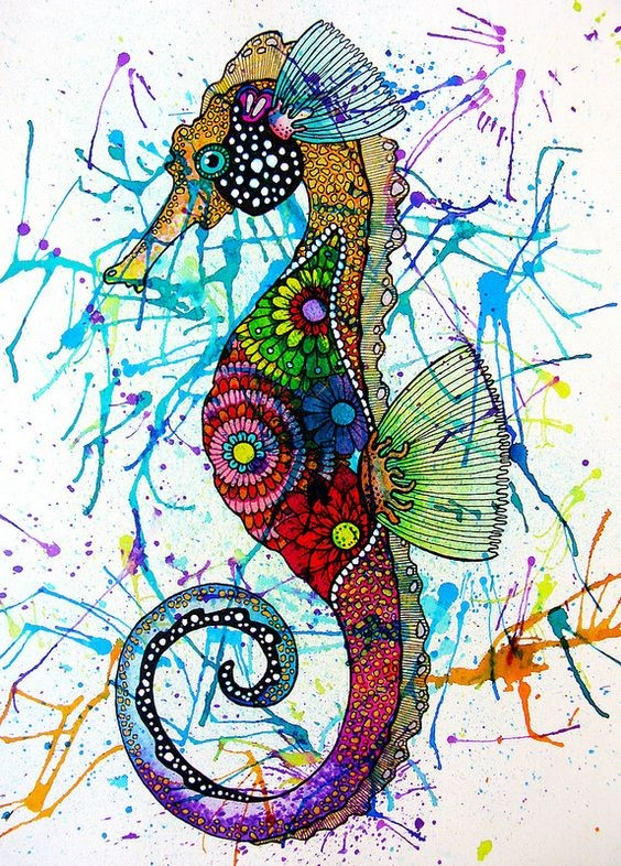 Rainbow floral-printed seahorse on watercolor splashes background tattoo design