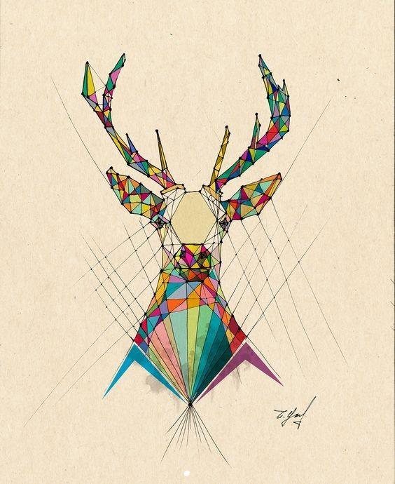 Rainbow geometric-style animal portrait tattoo design