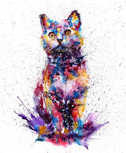 Rainbow watercolor cat sitting in the puddle tattoo design