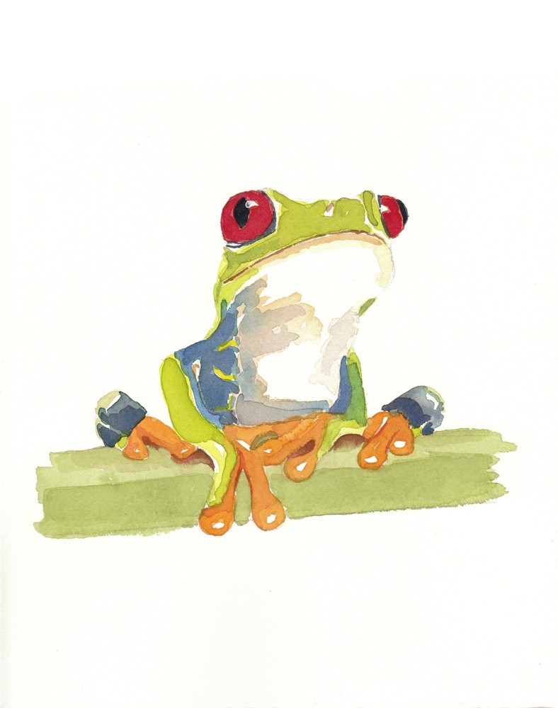 Rainbow watercolor dreaming frog tattoo design