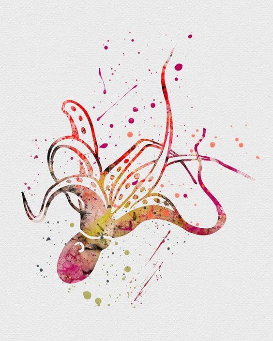 Rainbow watercolor falling octopus tattoo design