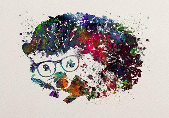 Rainbow watercolor hedgehog in glasses tattoo design