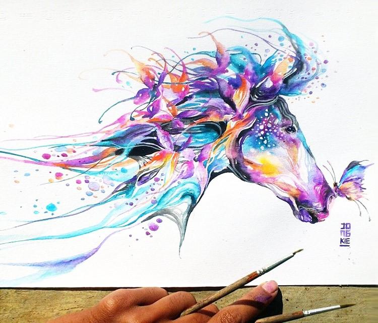 104d9cc7ce8d3 Rainbow watercolor horse head and flying butterflies tattoo design -  Tattooimages.biz