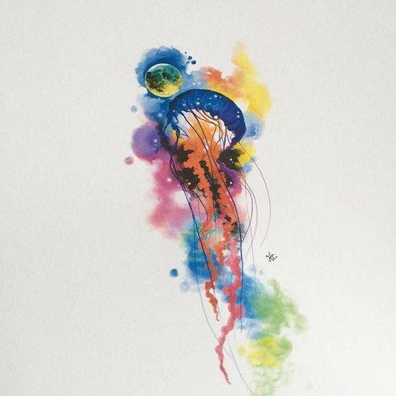 Rainbow Watercolor Jellyfish And Full Moon Tattoo Design
