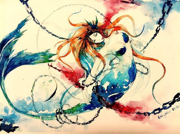 Rainbow watercolor mermaid in long black chains tattoo design