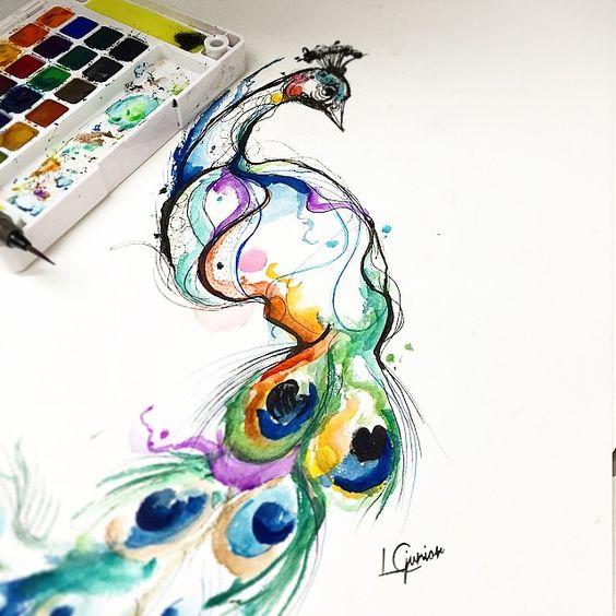 Rainbow watercolor peacock tattoo design