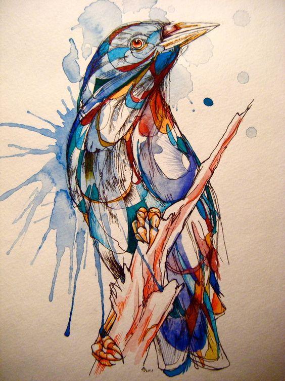 Rainbow watercolor raven sitting on branch tattoo design