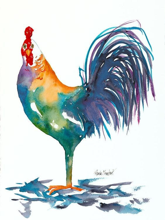Rainbow watercolor rooster tattoo design