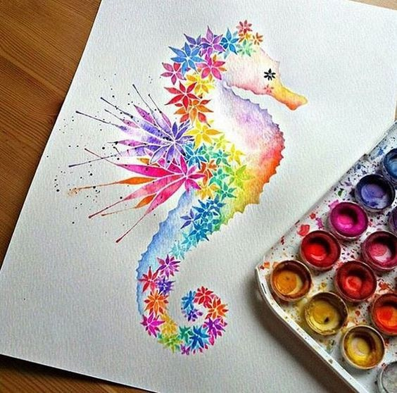 Rainbow watercolor seahorse with flower elements tattoo design