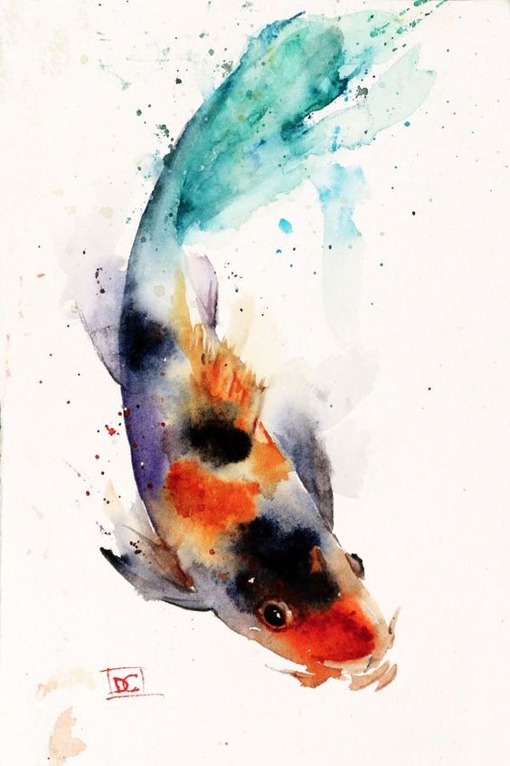 Rainbow watercolor swimming fish tattoo design for Rainbow koi fish