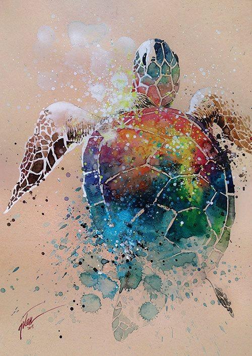 Rainbow watercolor turtle tattoo design