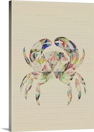 Rainwow-colored geometric-shaped crab tattoo design