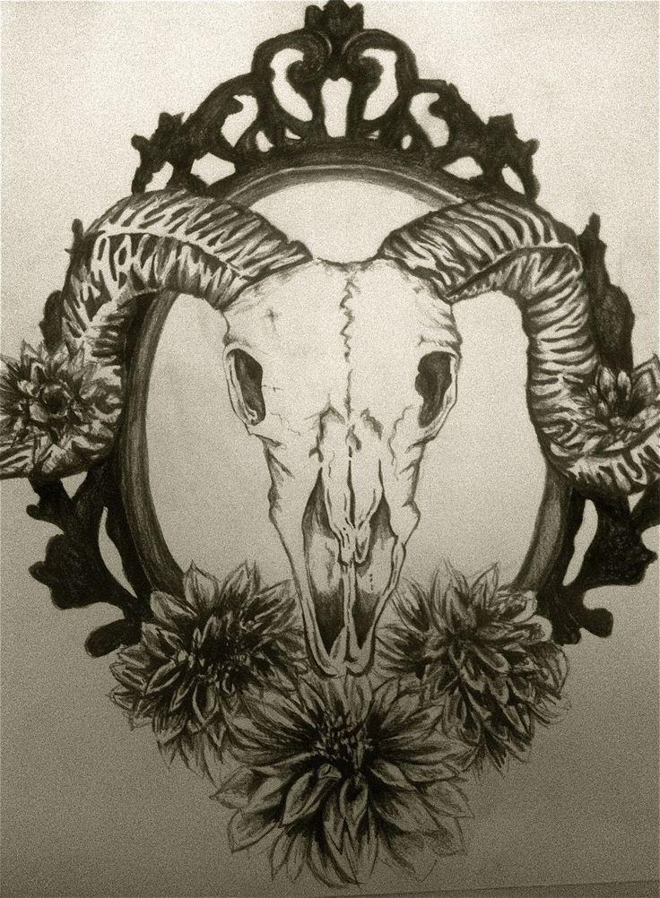 Ram skull with nice flowers on mirror frame tattoo design