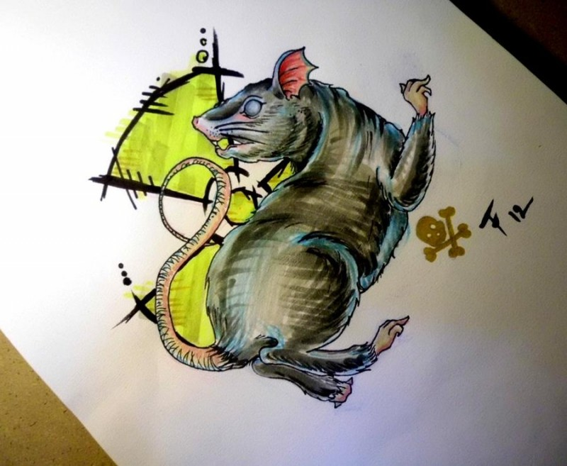 Reactive escaping mouse tattoo design by Tarafleming