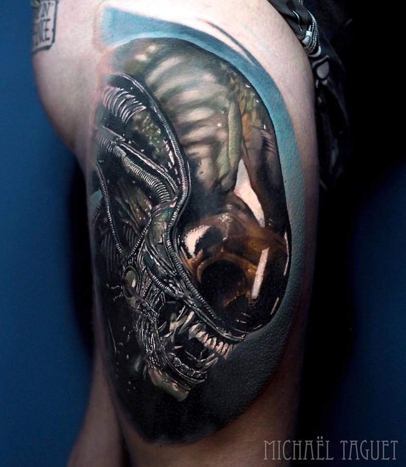 Realistic Alien tattoo on thigh