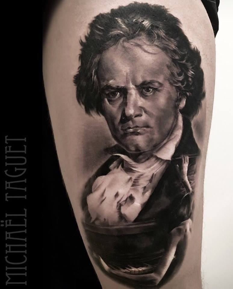 Realistic Beethoven portrait tattoo