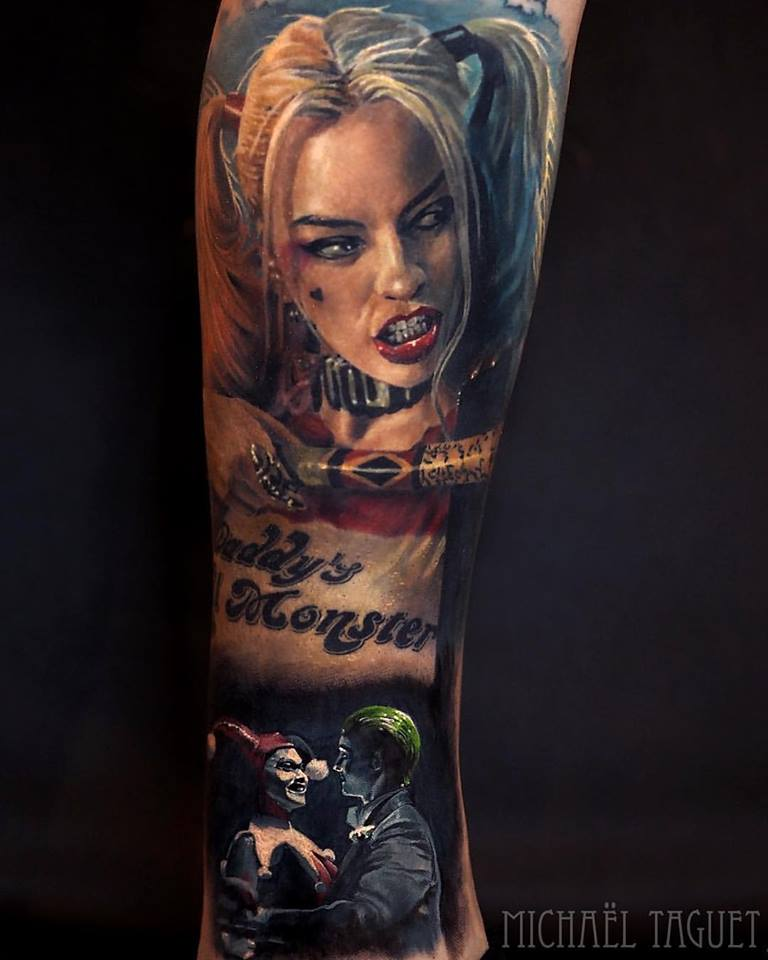Realistic Harley Quinn tattoo on arm3