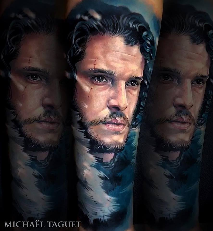 Realistic Jon Snow tattoo3