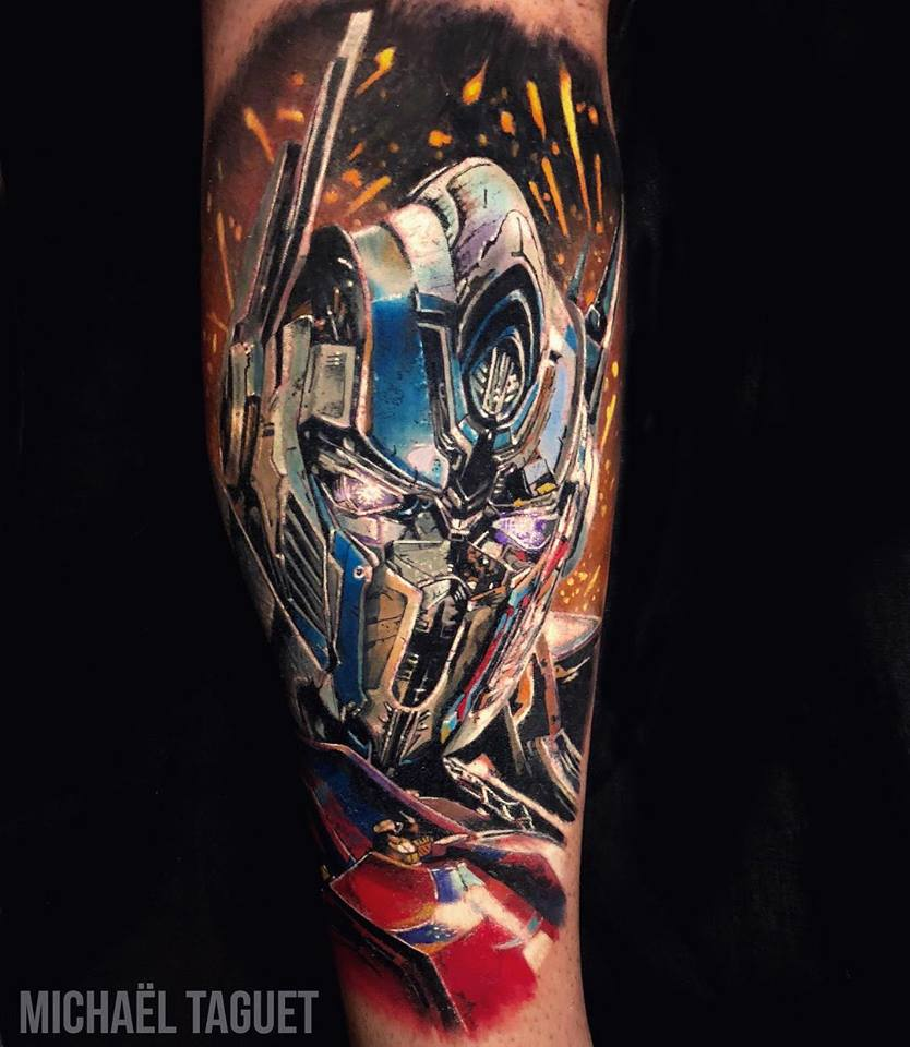 Realistic Optimus Prime Transformers tattoo3