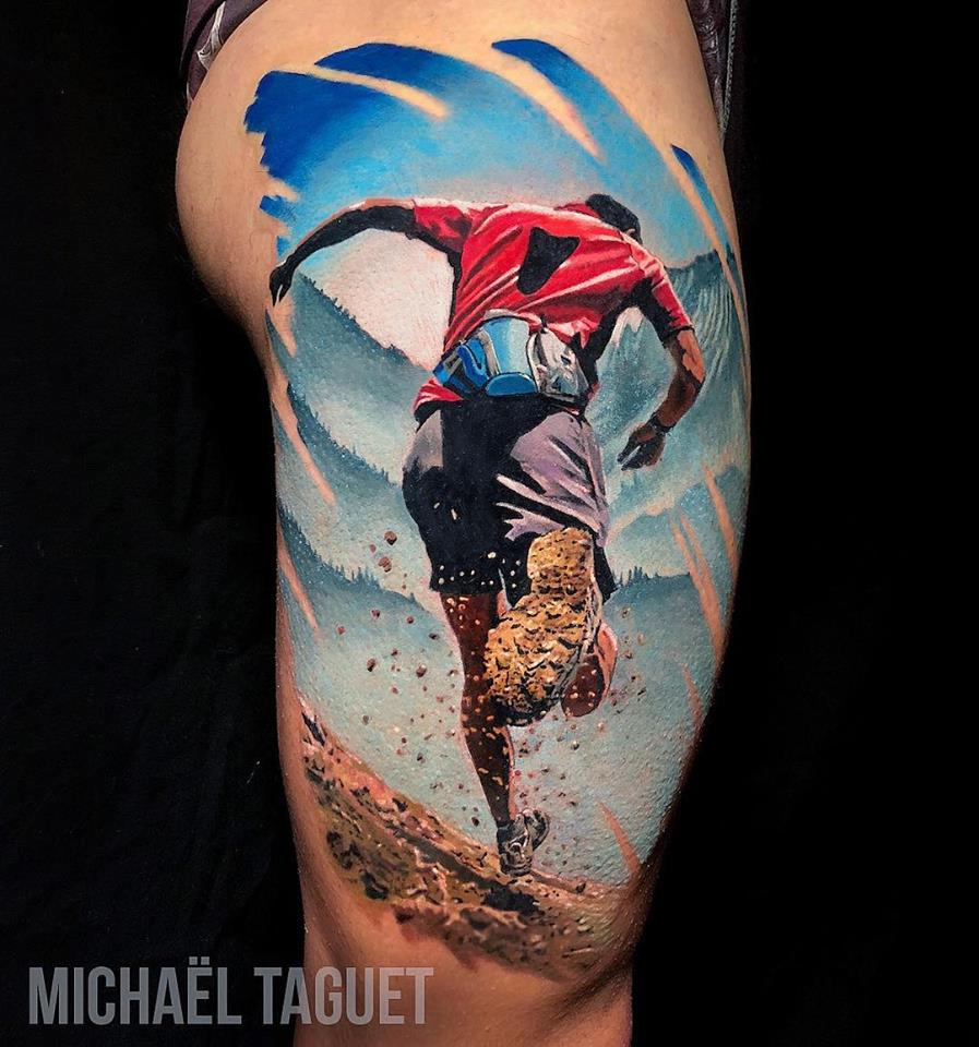 Realistic Trail running tattoo on thigh3