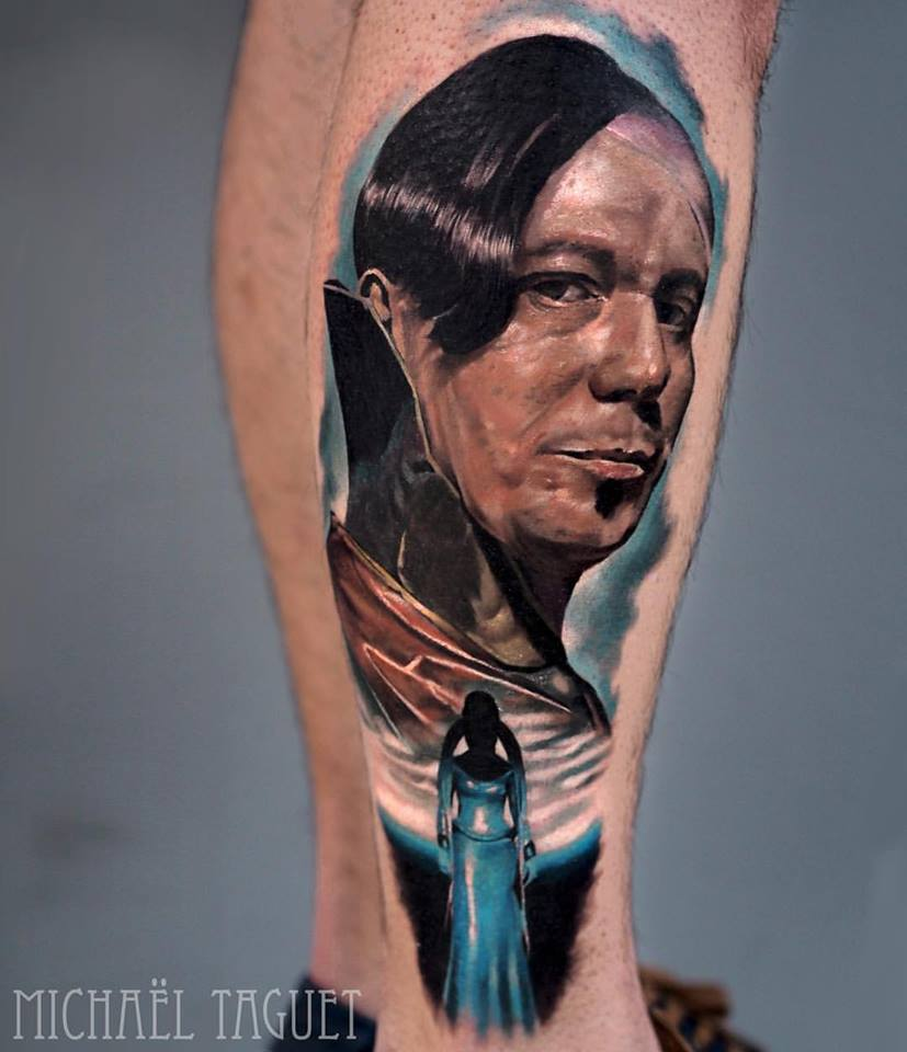Realistic ZORG portrait tattoo on leg3