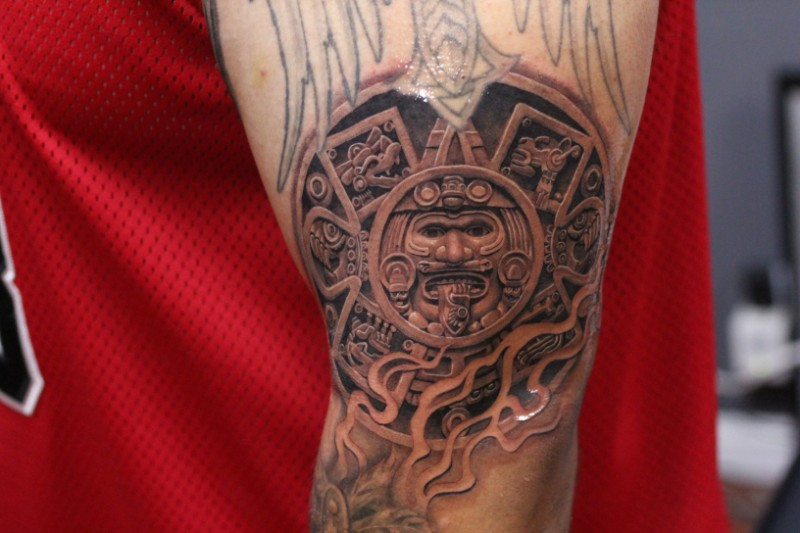 Realistic aztec american classic tattoo on arm