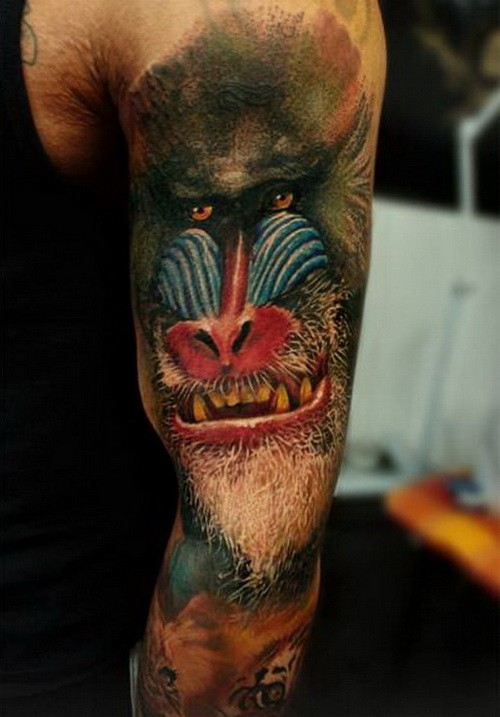 Realistic baboon head tattoo for men on arm