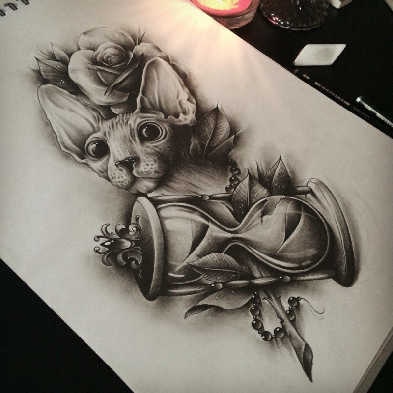 Realistic black-and-white domestic animal with hourglass tattoo design