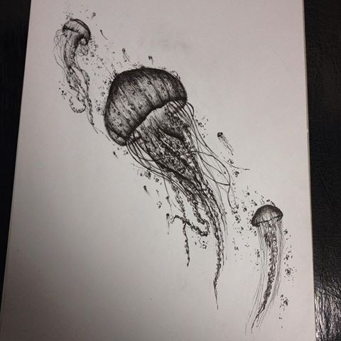 Realistic black-and-white jellyfish trio tattoo design ...