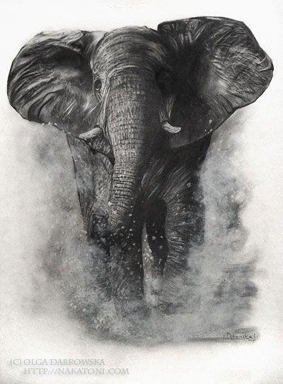 Realistic black elephant running in water splashes tattoo design