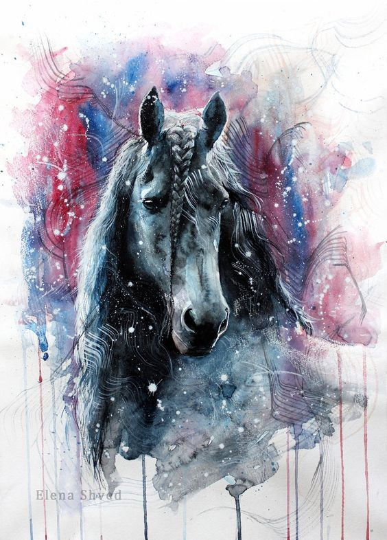 Realistic black horse on vortex watercolor background tattoo design