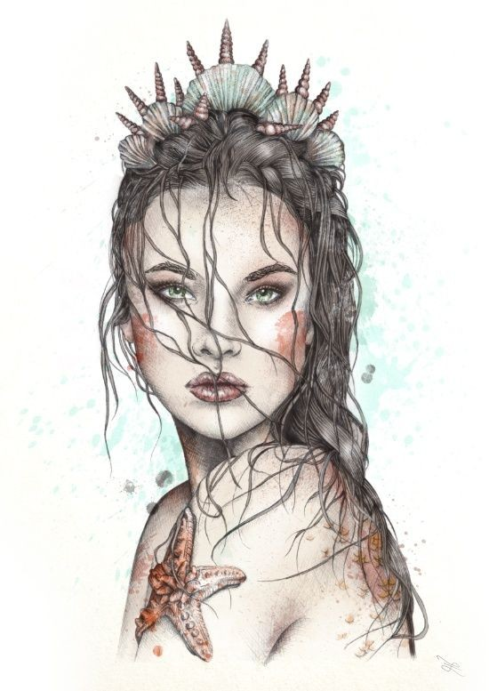 Realistic colored mermaid portrait tattoo design