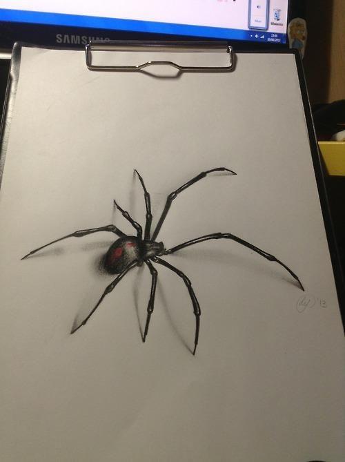 Realistic colorful black widow spider tattoo design