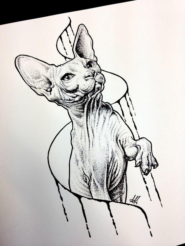 Realistic dotwork sphynx cat and swirly line tattoo design