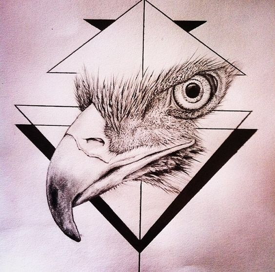 Realistic eagle face on geometric drawings tattoo design